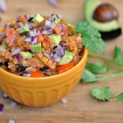 Crock Pot Chicken Enchilada Quinoa + Weekly Menu