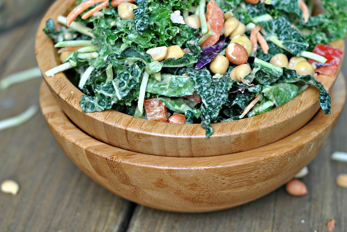 Kale Salad with Peanut Dijon Dressing 2