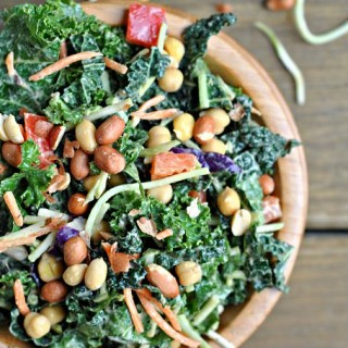 Kale Salad with Peanut Dijon Dressing + Weekly Menu