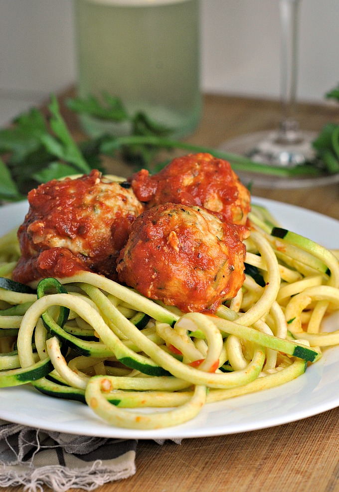 Baked Turkey Zucchini Meatballs with Simple Zoodles 1