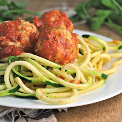 Baked Turkey Zucchini Meatballs with Simple Zoodles