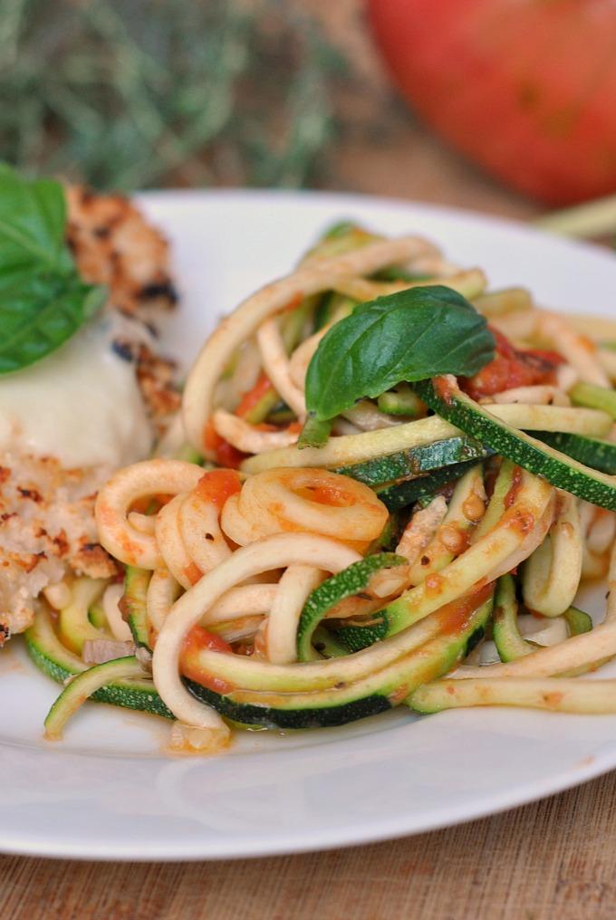 Chicken Parmesan over Zucchini Noodles 1