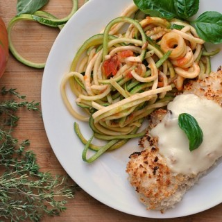Chicken Parmesan over Zucchini Noodles (Zoodles!)