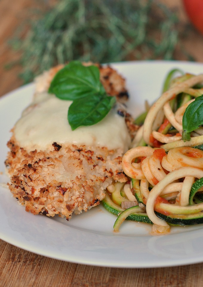 Chicken Parmesan Over Zucchini Noodles Zoodles