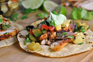 Chili Lime Chicken Tacos with Grilled Pineapple Salsa + Weekly Menu
