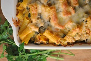 Pumpkin, Kale, and Sausage Pasta Bake