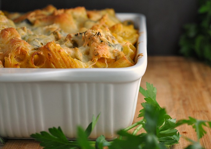 Pumpkin, Kale, and Sausage Pasta Bake
