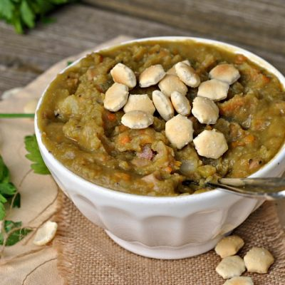 Slow Cooker Smoky Ham and Split Pea Soup