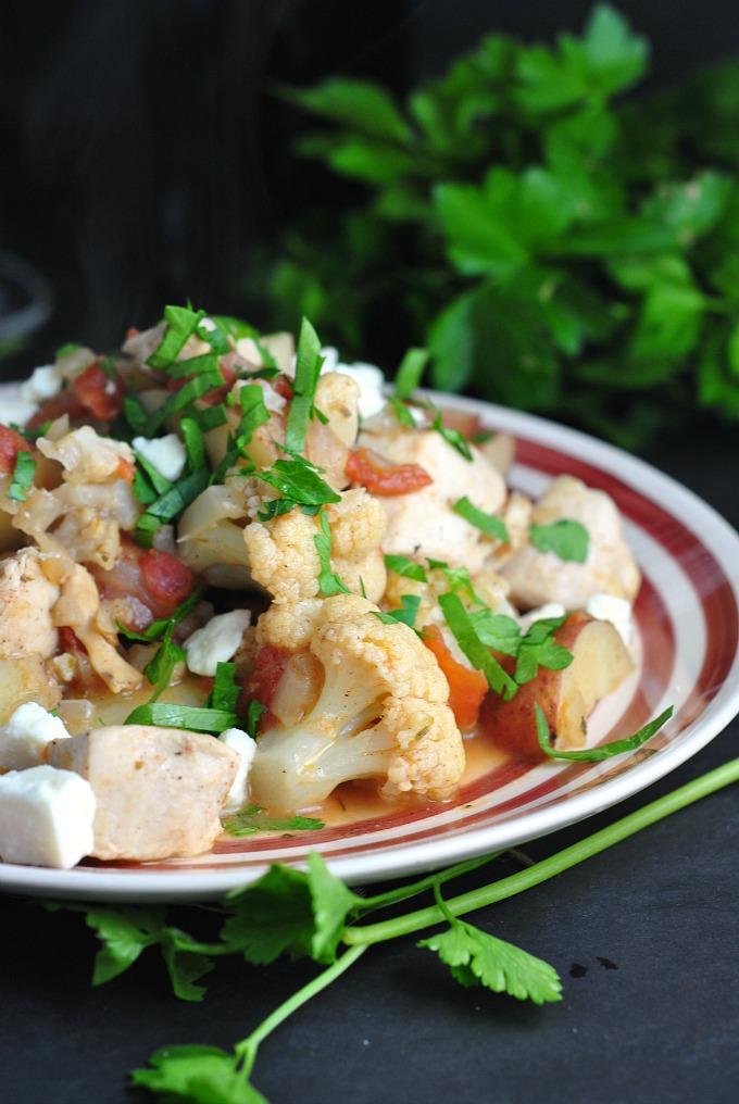 Greek Chicken with Potatoes, Cauliflower, and Feta 1