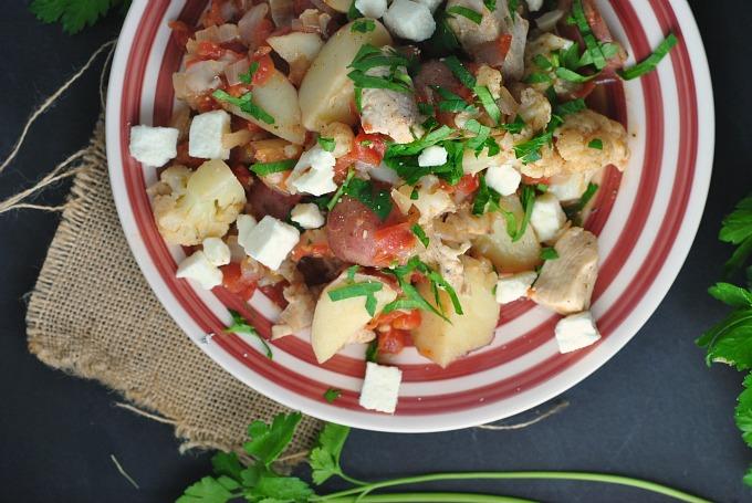 Greek Chicken with Potatoes, Cauliflower, and Feta 3