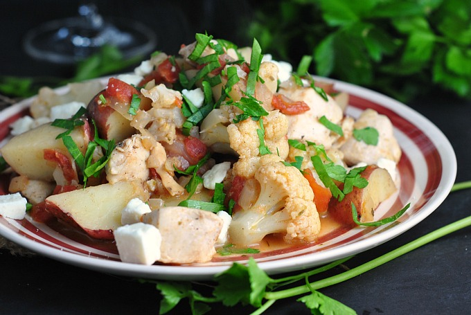 Greek Chicken with Potatoes, Cauliflower, and Feta 4