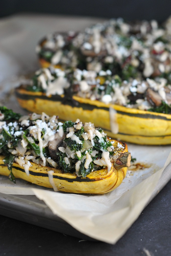 Kale and Quinoa-Stuffed Delicata Squash 1