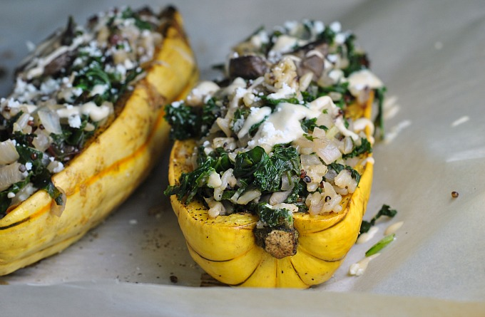 Kale and Quinoa-Stuffed Delicata Squash 2