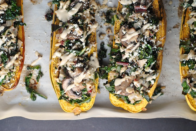 Kale and Quinoa-Stuffed Delicata Squash 3