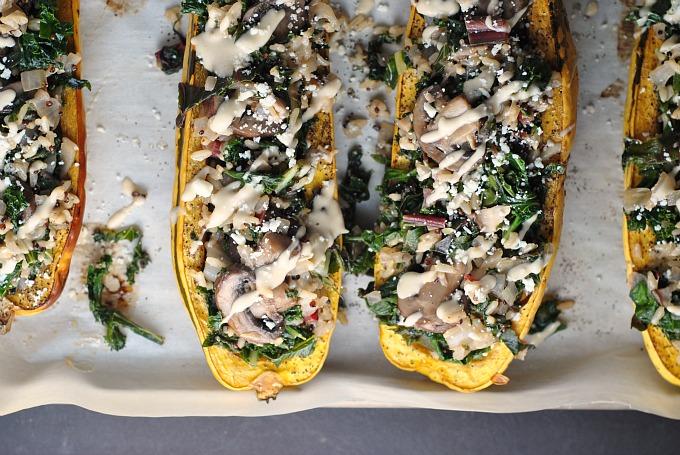 Kale and Quinoa-Stuffed Delicata Squash 3