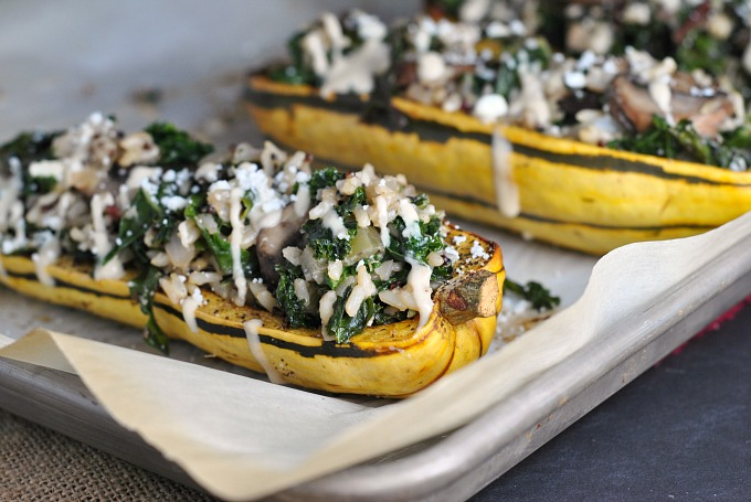 Kale and Quinoa-Stuffed Delicata Squash 4