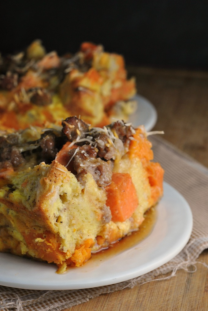 Sweet Potato and Sausage Strata 1