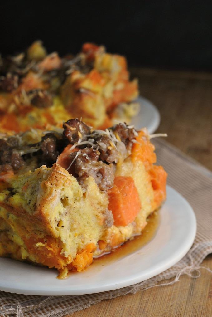 Sweet Potato and Sausage Strata 1