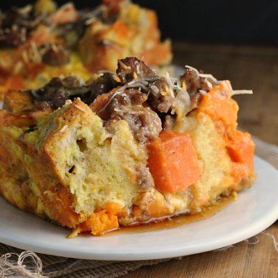 Sweet Potato and Sausage Strata + Weekly Menu