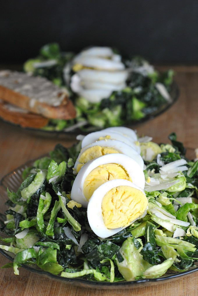 Kale and Brussels Sprout Caesar Salad 1
