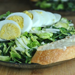 Kale and Brussels Sprout Caesar Salad