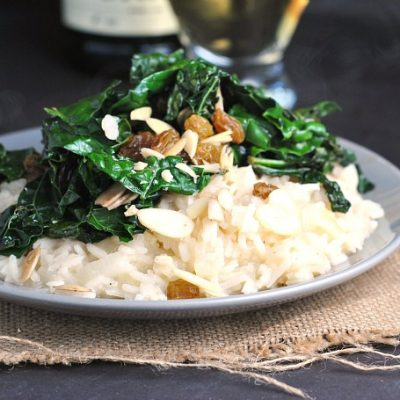 Sweet Onion Risotto with Sauteed Kale