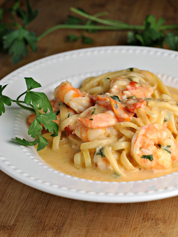 Garlicky Linguine and Shrimp 1