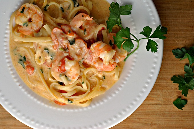 Garlicky Linguine and Shrimp 2