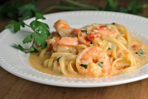 Garlicky Linguine and Shrimp