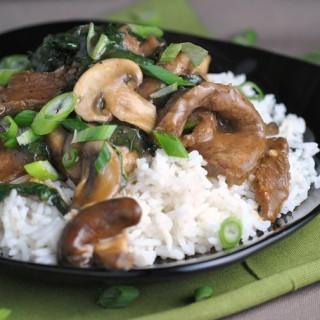Ginger Beef, Mushroom, and Kale Stir-Fry