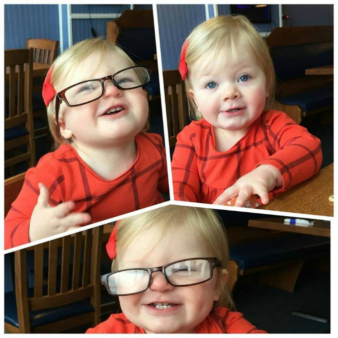 Shea with Grandpas Glasses