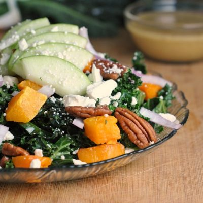 Kale, Butternut Squash, and Apple Salad with Maple Vinaigrette + Weekly Menu