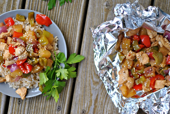 Grilled Pineapple Chicken Foil Packets 2