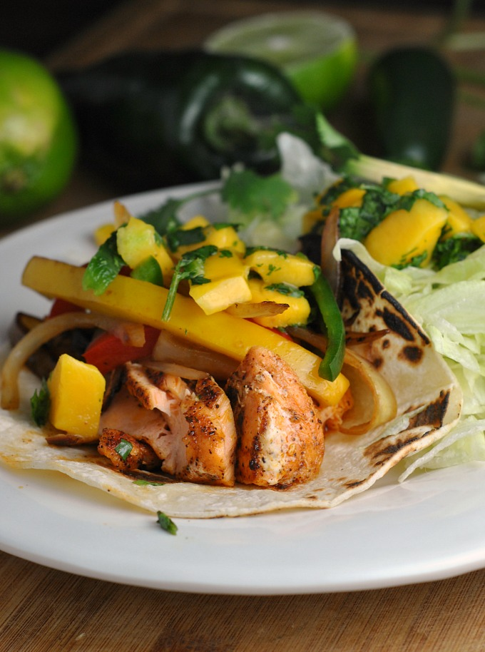 Salmon Fajitas with Mango Salsa 1