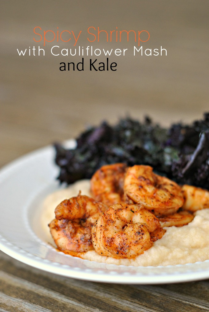 Spicy Shrimp with Cauliflower Mash and Kale 1