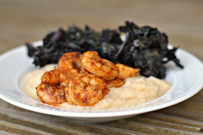 Spicy Shrimp with Cauliflower Mash and Kale 4