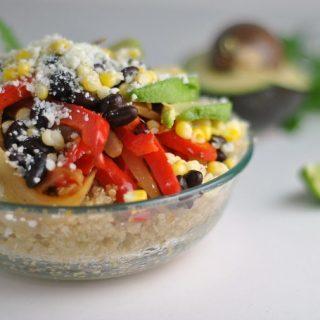Vegetarian Quinoa Fajita Bowls + Weekly Menu