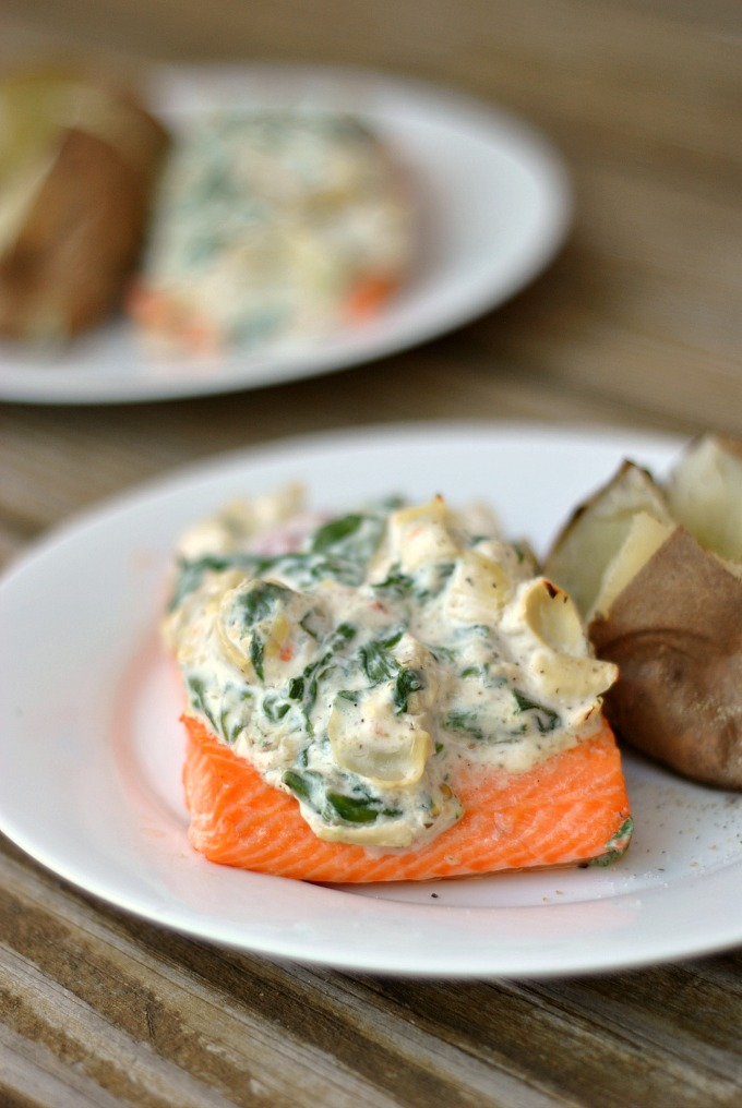 Artichoke and Spinach Roasted Salmon 1