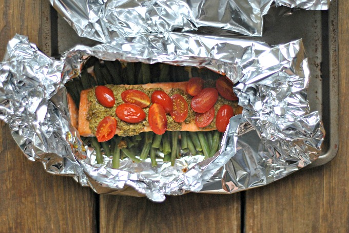 Pesto Salmon and Italian Veggies in Foil 3