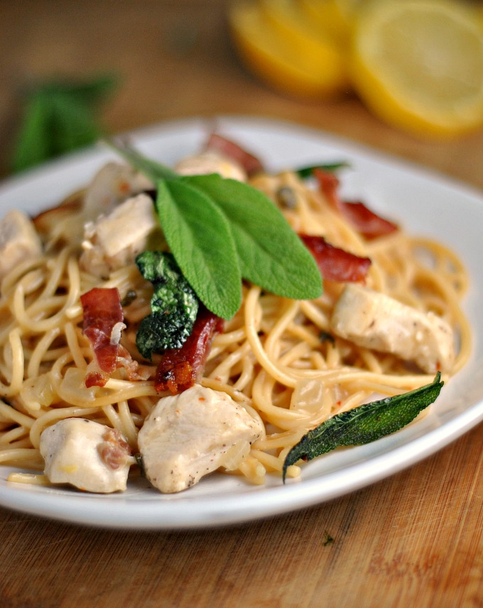 Skillet Chicken Saltimbocca Spaghetti 1