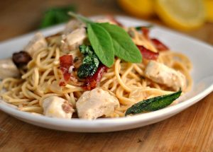 Skillet Chicken Saltimbocca Spaghetti