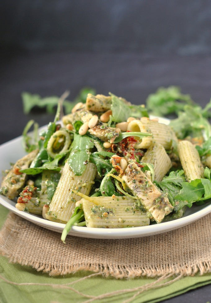... Pesto Chicken Pasta Salad with Sun-Dried Tomatoes, Arugula and Pine