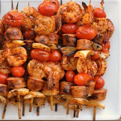 Grilled Shrimp and Sausage Skewers with Smoky Paprika Glaze + Weekly Menu