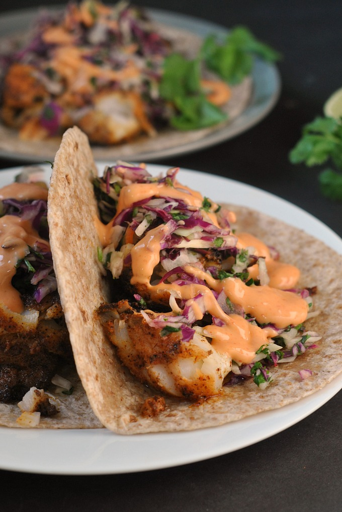 Blackened fish tacos with cilantro slaw and sriracha mayo for Good fish recipes
