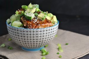 Easy Teriyaki-Glazed Salmon Bowls + Weekly Menu