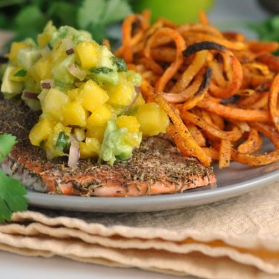 Jamaican Jerk Salmon with Fresh Mango Salsa (Whole30) + Weekly Menu