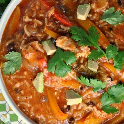 One Pot Chicken and Rice Fajita Soup