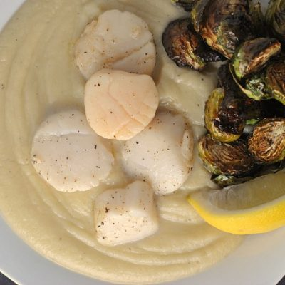 Seared Scallops with Cauliflower Puree and Balsamic Brussels Sprouts {Whole30}