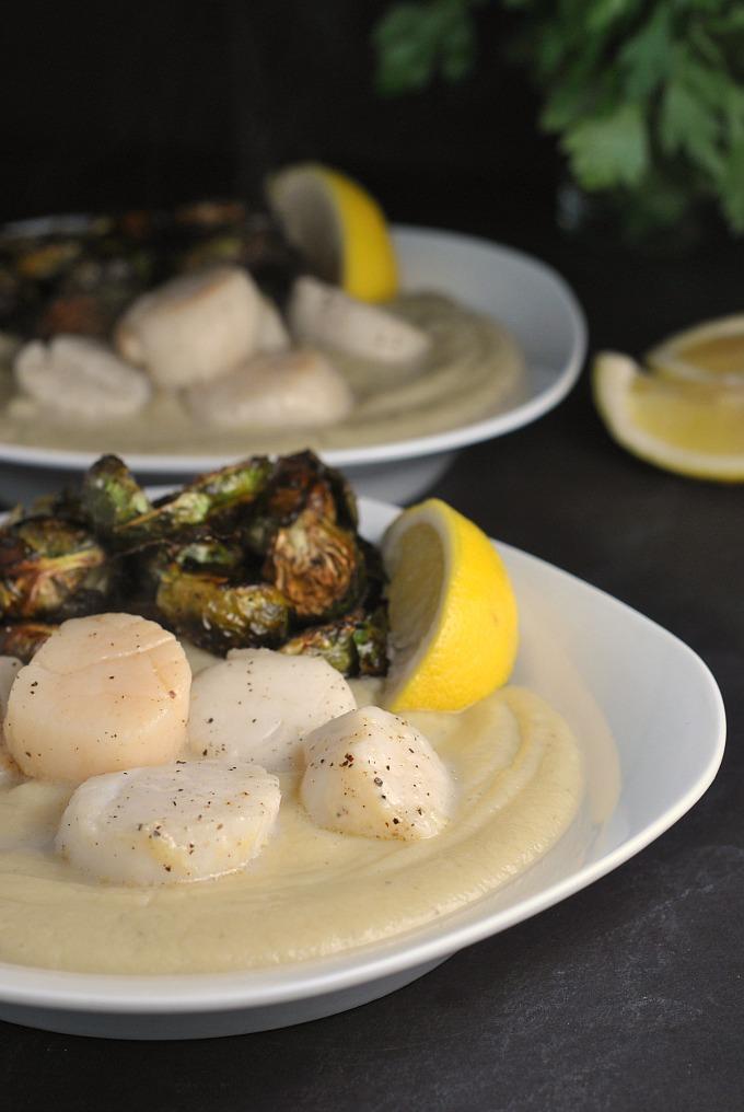 Seared Scallops With Cauliflower Puree And Balsamic