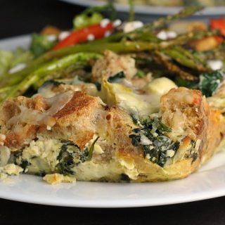Artichoke and Spinach Strata + Weekly Menu